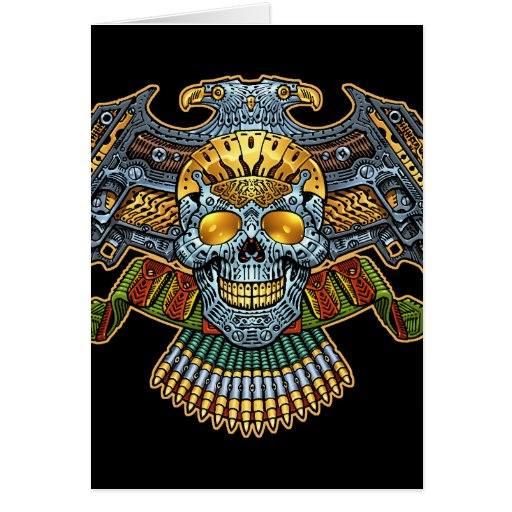 Evil Skull with Guns and Bullets by Al Rio Card