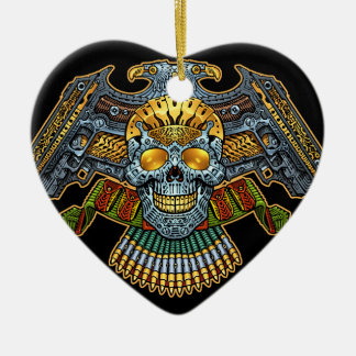 Evil Skull with Guns and Bullets by Al Rio Ceramic Heart Decoration