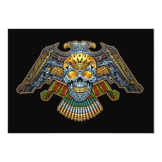 """Evil Skull with Guns and Bullets by Al Rio 5"""" X 7"""" Invitation Card"""