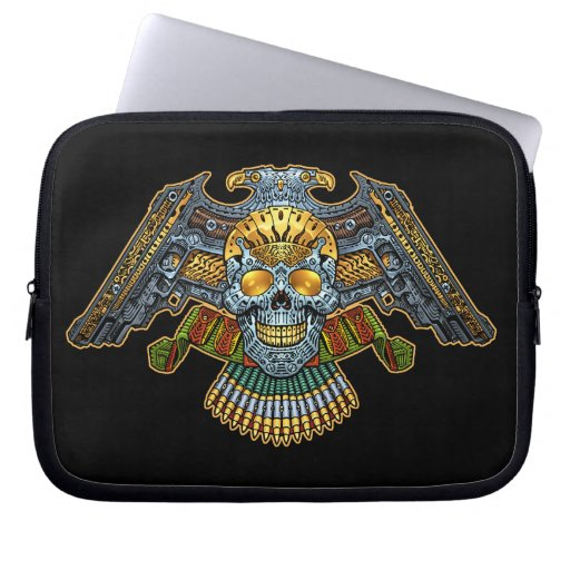 Evil Skull with Guns and Bullets by Al Rio Laptop Computer Sleeve