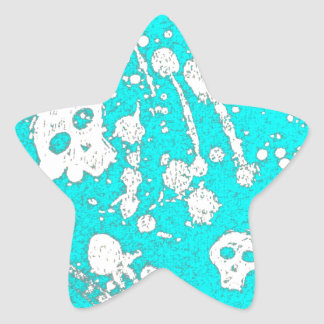 Evil - skulls and guitars in baby blue star stickers
