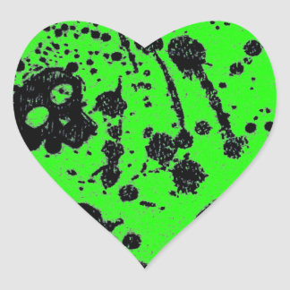 Evil - skulls and guitars in green heart sticker