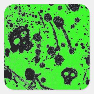 Evil - skulls and guitars in green square sticker