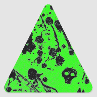 Evil - skulls and guitars in green triangle sticker