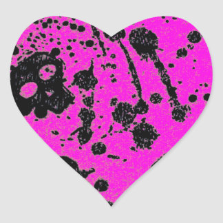 Evil -skulls and guitars in pink heart stickers