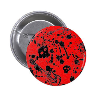 Evil - skulls and guitars in red pinback button
