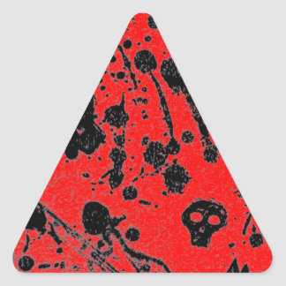 Evil - skulls and guitars in red triangle stickers