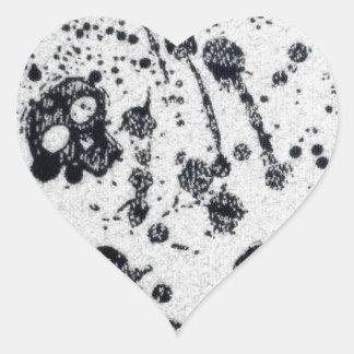 Evil -skulls and guitars in white heart sticker