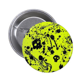 Evil -skulls and guitars in yellow 6 cm round badge