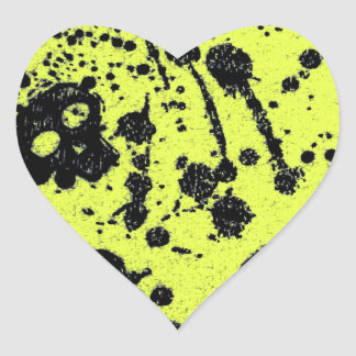 Evil -skulls and guitars in yellow heart sticker