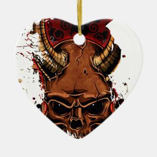Evil Skulls Ceramic Heart Decoration