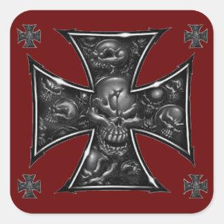 Evil Skulls Iron Cross Square Sticker