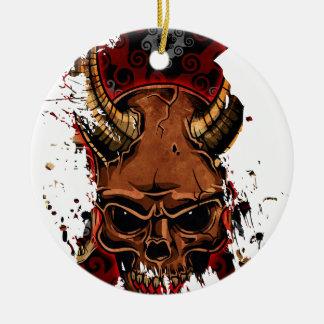 Evil Skulls Round Ceramic Decoration