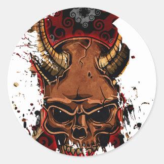 Evil Skulls Round Stickers