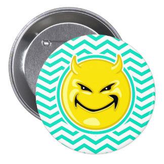 Evil Smile Aqua Green Chevron Pinback Button