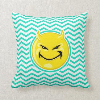 Evil Smile; Aqua Green Chevron Cushion