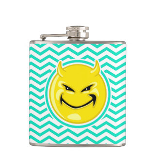 Evil Smile; Aqua Green Chevron Hip Flask