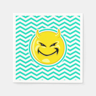Evil Smile; Aqua Green Chevron Disposable Napkins