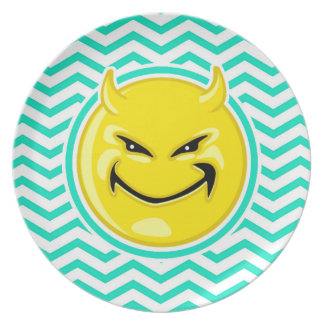 Evil Smile Aqua Green Chevron Party Plates