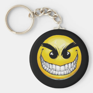 evil smile basic round button key ring