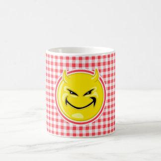Evil Smile; Red and White Gingham Mug