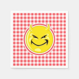 Evil Smile; Red and White Gingham Disposable Napkin
