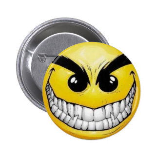 evil-smiley-face 6 cm round badge