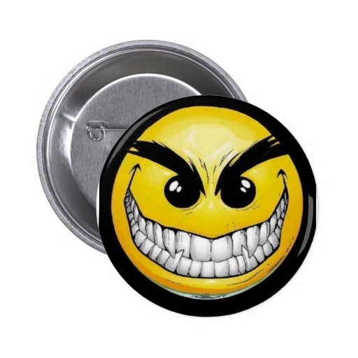 Evil smiley face pins