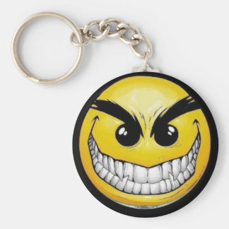 evil-smiley-face basic round button key ring