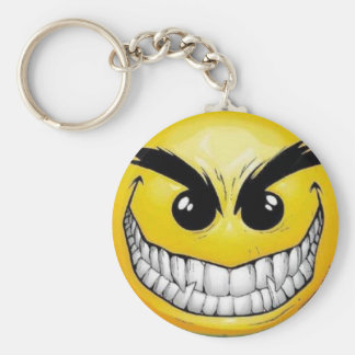 Evil smiley face basic round button key ring