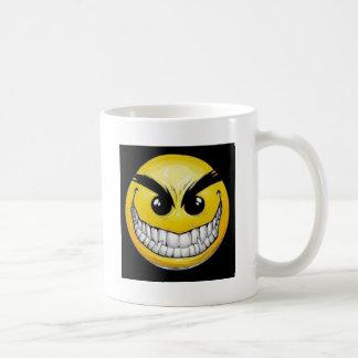 Evil smiley face basic white mug
