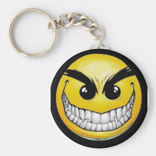 Evil smiley face keychains