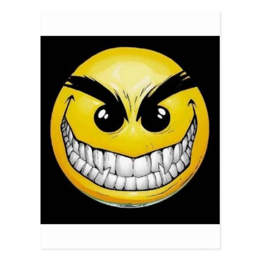 Evil smiley face post card