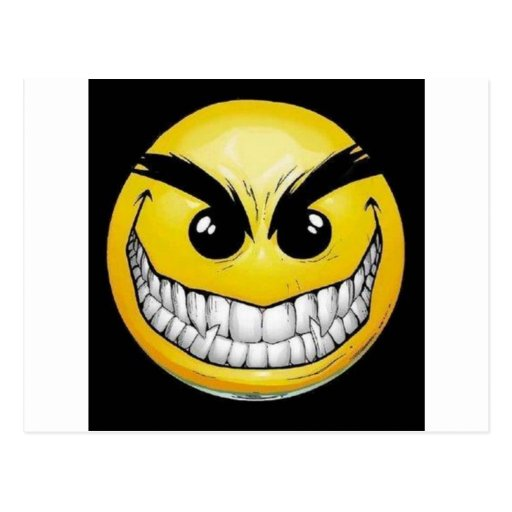 Evil smiley face postcard