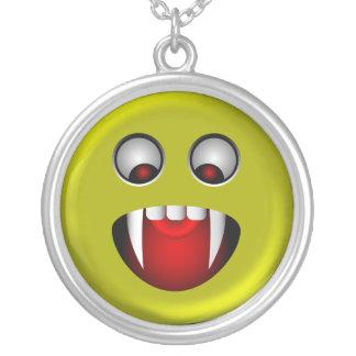 Evil Smiley Face Round Pendant Necklace