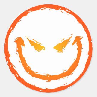 Evil Smiley Face Round Sticker