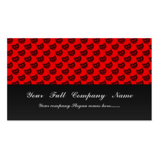 evil smiley faced black hearts on rough red surfac business card template