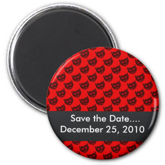 evil smiley faced black hearts on rough red surfac magnet