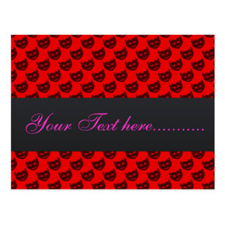 evil smiley faced black hearts on rough red surfac post card