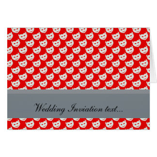 evil smiley faced white hearts on rough red surfac cards