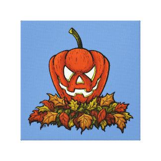 evil smiling halloween pumpkin canvas print