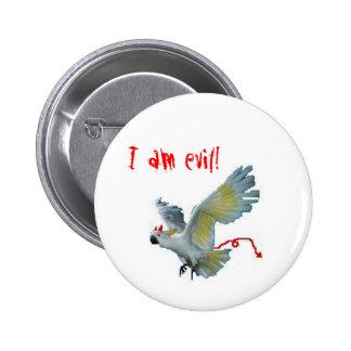 Evil Sulphur Crested Cockatoo 6 Cm Round Badge