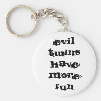 evil twins have more fun basic round button key ring
