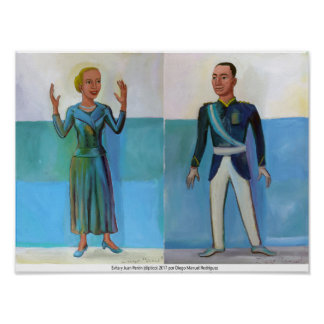 Evita and Juan Peron by Diego Manuel. Poster