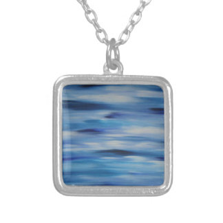 Evitavic paintings collection Blue Sky Square Pendant Necklace