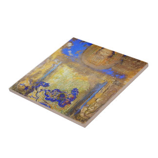 Evocation by Odilon Redon Small Square Tile