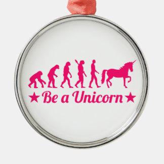 Evolution be a unicorn metal ornament