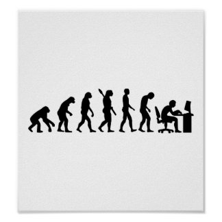 Evolution computer office poster