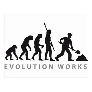 evolution construction more worker post cards