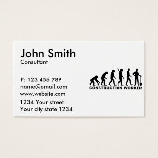 Evolution construction worker business card